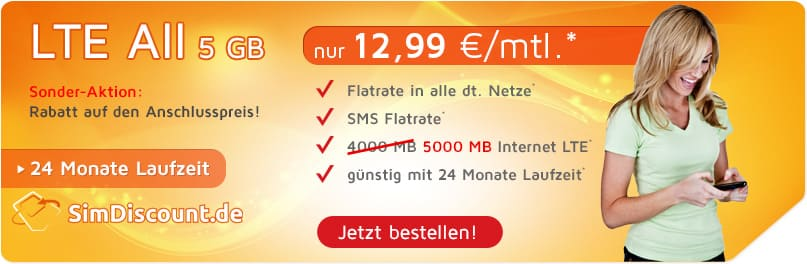 SONDER-AKTION SIMDISCOUNT LTE ALL 5 GB LZ