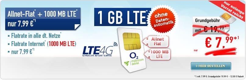 Sonder-Aktion Allnet-Flat + 1 GB 7,99