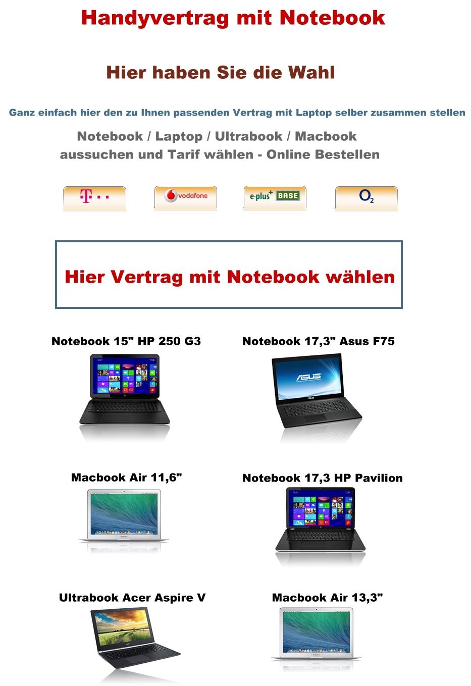handyvertrag notebook laptop ultrabook macbook air hp pavilion asus handy bundle ebay. Black Bedroom Furniture Sets. Home Design Ideas
